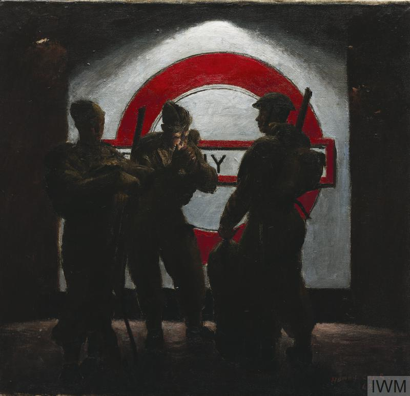 Painting. Three Soldiers standing in front of an illuminated Underground sign by Henry Carr