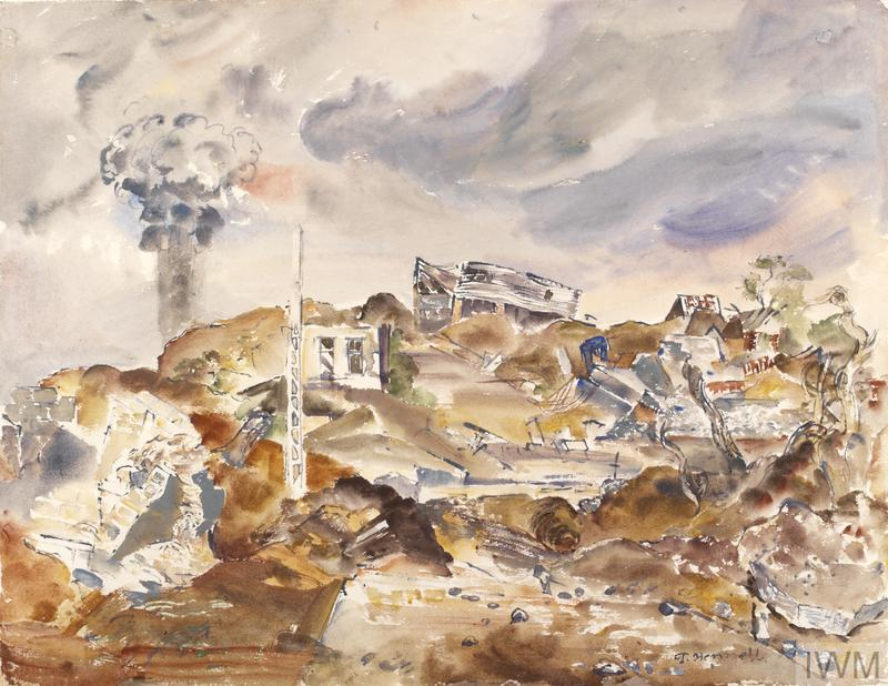 a bomb site consisting of a mound of rubble and twisted metal with a few ruined fragments of buildings still remaining here and there. In the background a cloud of smoke rises up in the sky behind the rubble.