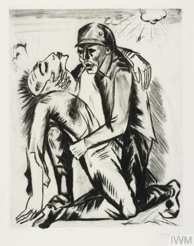 A German soldier kneels on the ground, cradling a badly wounded comrade in his arms. The wounded man appears to be limp and lifeless in his arms. A shell explodes above in the top right corner.