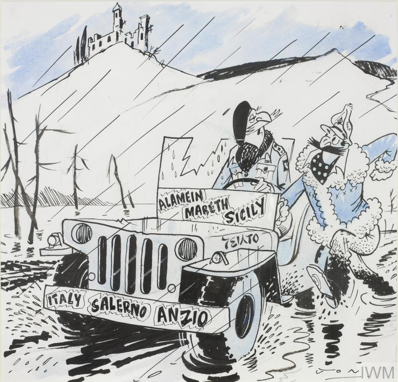 Cartoon showing soldiers fighting in Italy, the cartoon reads 'when they call us D-Day dodgers, which D-Day do they mean?'