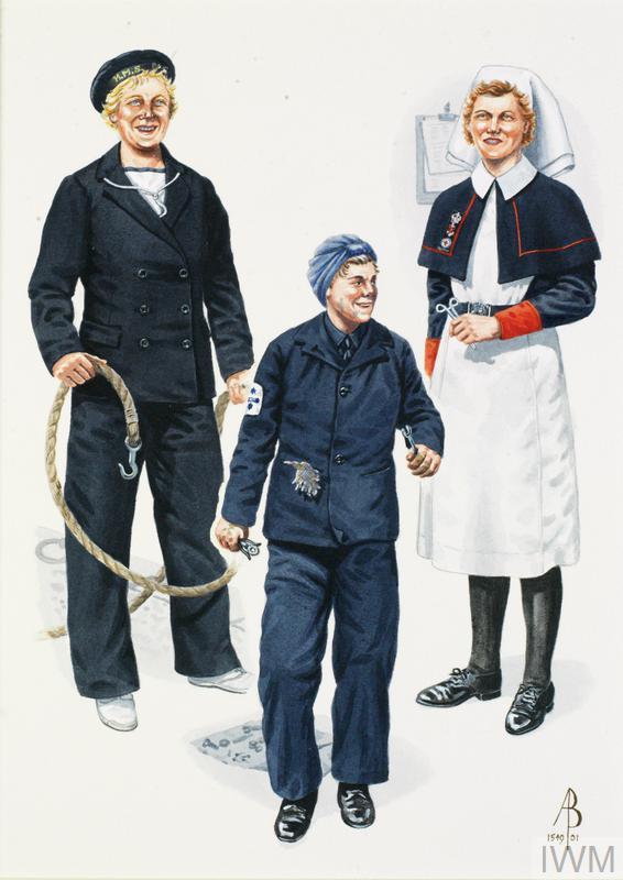 WRNS and QARNNS: WRNS Boat Crew, Home Waters 1943; WRNS Motor Mechanic, Home Waters 1943; Nursing Sister, QARNNS Reserve, 1942