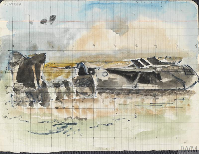 A crashed Horsa glider, viewed from the side with the tail portion separate and lying on the ground.