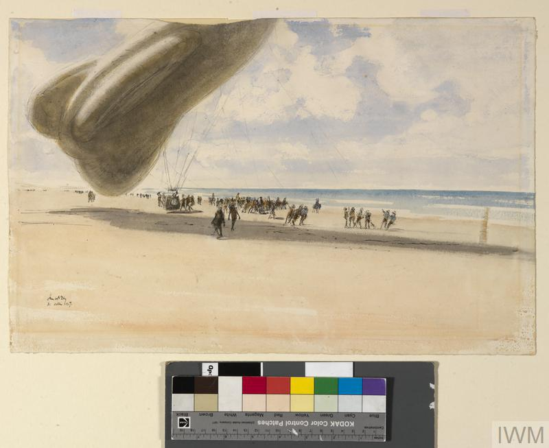 A Balloon Ascending, Gaza : one of the 'sausages' going up to spot for the guns of the monitors