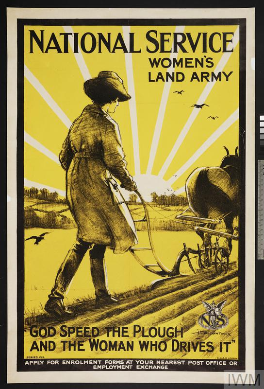 "Land Girl, full-length figure, in uniform and hat, guiding a horse-drawn plough to right. Crows, soaring over the newly furrowed ground, are silhouetted against the stylised rays of a partially obscured sun text: ""NATIONAL SERVICE"" (upper edge) & ""WOMEN'S LAND ARMY"" (in 2 lines at upper right of design) & ""'GOD SPEED THE PLOUGH AND THE WOMAN WHO DRIVES IT'""."