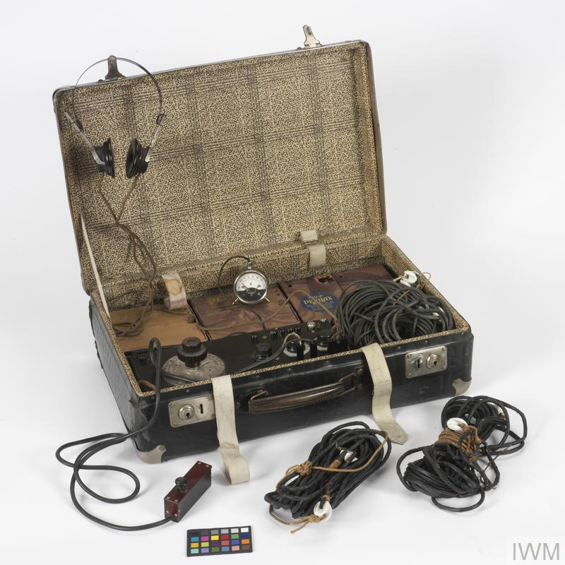 © IWM (COM 1500) Suitcase wireless transmitter seized by MI5 from captured German spies during the Second World War. This is believed to have been the set belonging to agents Werner Heinrich Walti and Karl Theo Druecke, who were captured in 1940.