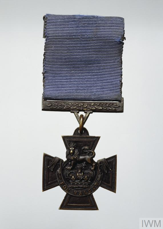 Victoria Cross (with blue 'Naval' ribbon) awarded during the First World War to Boy, 1st Class John Travers Cornwell for gallantry displayed as a sight setter for the cew of the 5.5-inch gun on the forecastle of the light cruiser HMS Chester during the Battle of Jutland, 31 May 1916