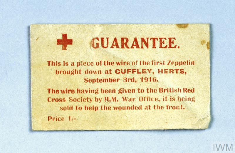 Envelope containing piece of wire from Zeppelin SL11 (sold by the British Red Cross Society)