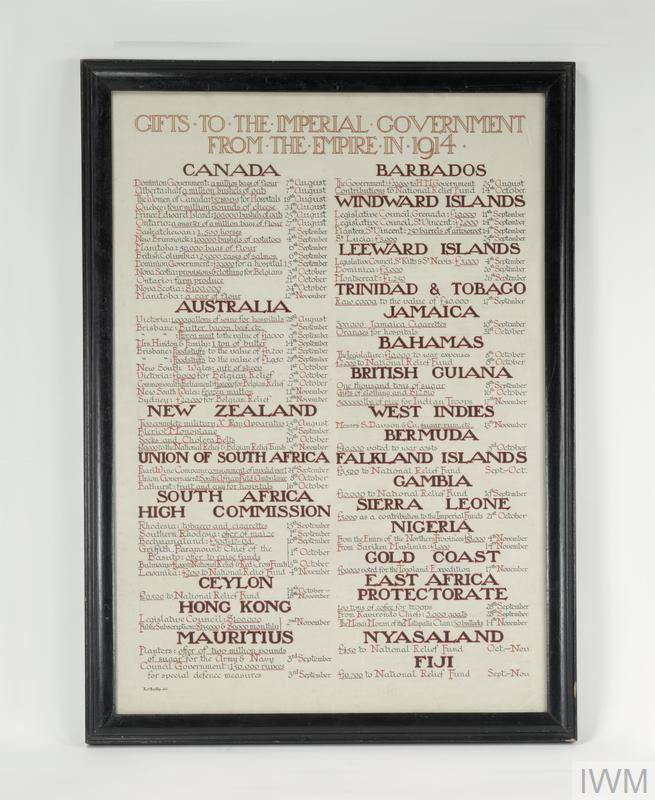 This scroll lists contributions of food, clothing and money from the West Indies and other parts of the British Empire.