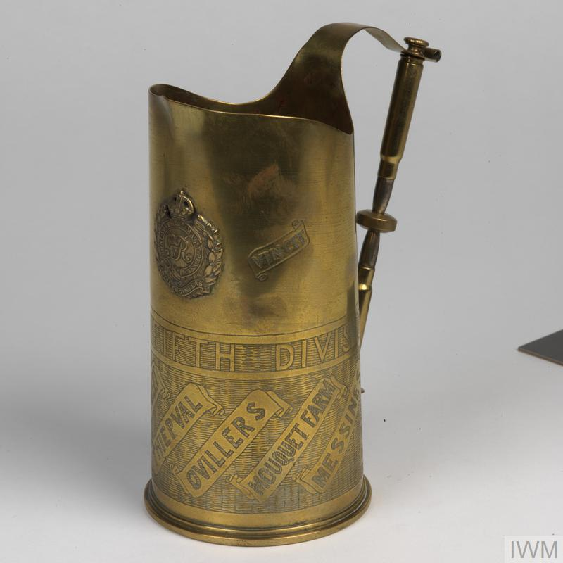 Item of 'trench art' made by (142817) Sapper E Southgate (Royal Engineers) whilst he was manning an underground telephone exchange in the Ypres district during the First World War.