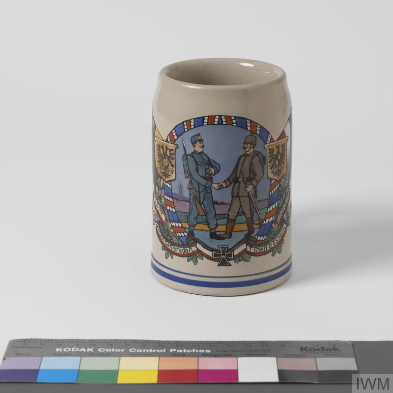 Tankard commemorating military alliance between Germany and Austria Hungary.