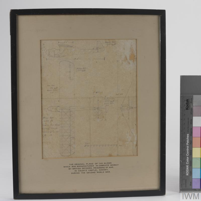 white plans for Colditz glider, framed