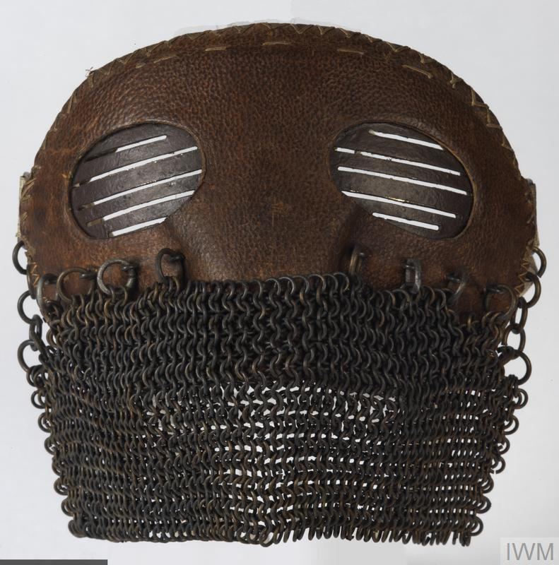 A type of face mask worn by British tank crews to protect their faces and eyes from hot metal fragments inside the tank.