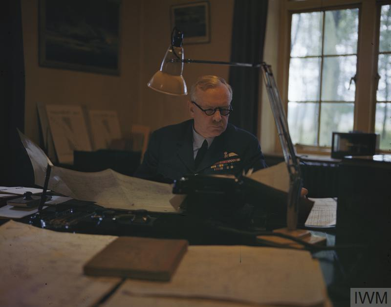 © IWM (TR 1093) Air Chief Marshal Sir Arthur T Harris, Commander in Chief of Royal Air Force Bomber Command, at his desk.