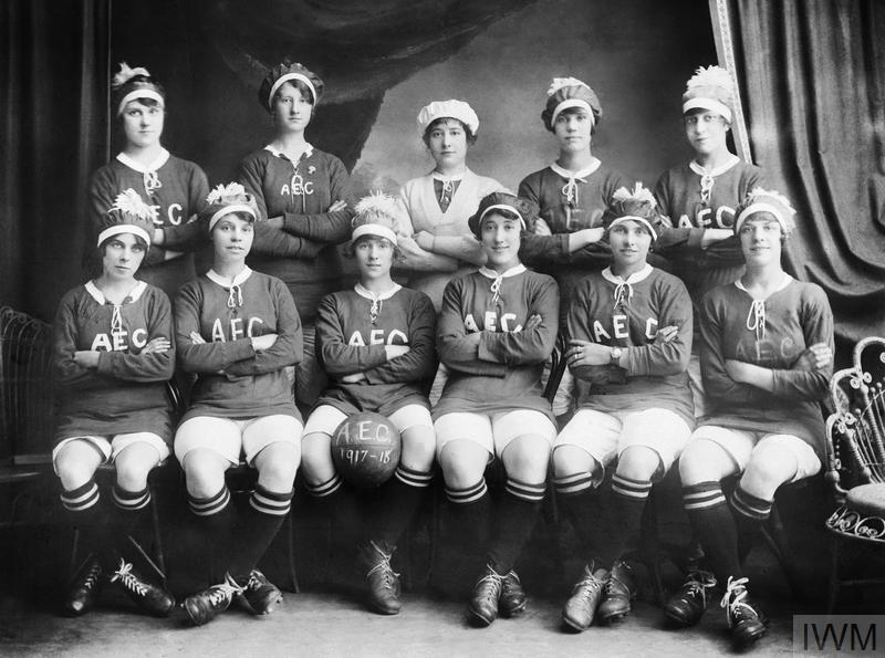 Women munitions workers' football team from the AEC Munitions Factory at Beckton, London.