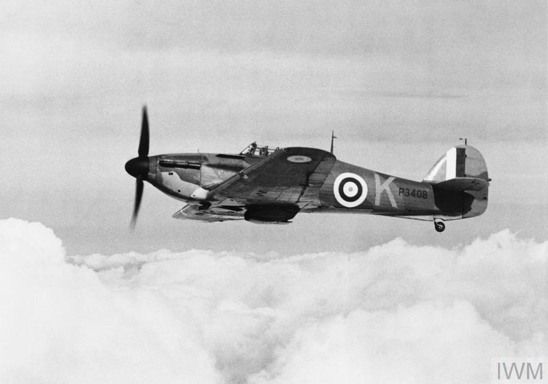 Hurricane Mark I, P3408 'VY-K', of No. 85 Squadron RAF based at Church Fenton, Yorkshire, in flight.