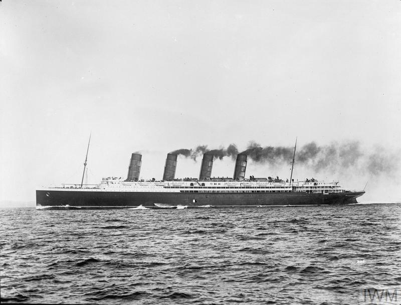 The RMS LUSITANIA which was sunk by the German submarine U 20 on 7 May 1915.