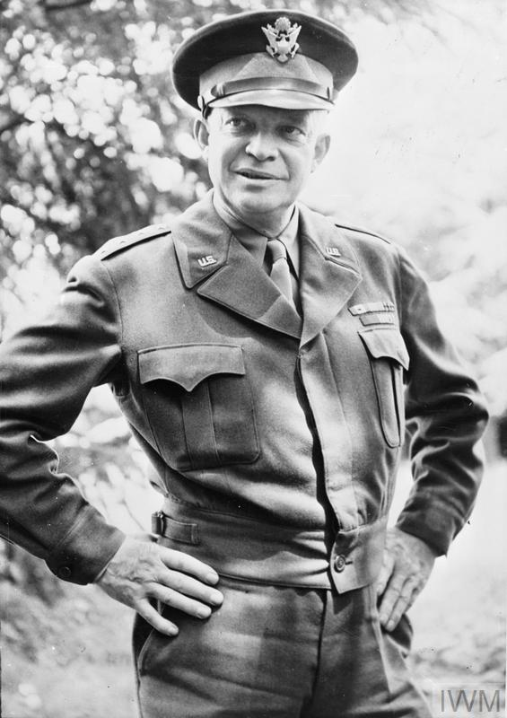 General Dwight D Eisenhower, Supreme Commander of the Allied Expeditionary Force, during a five day tour of the Normandy fighting front.