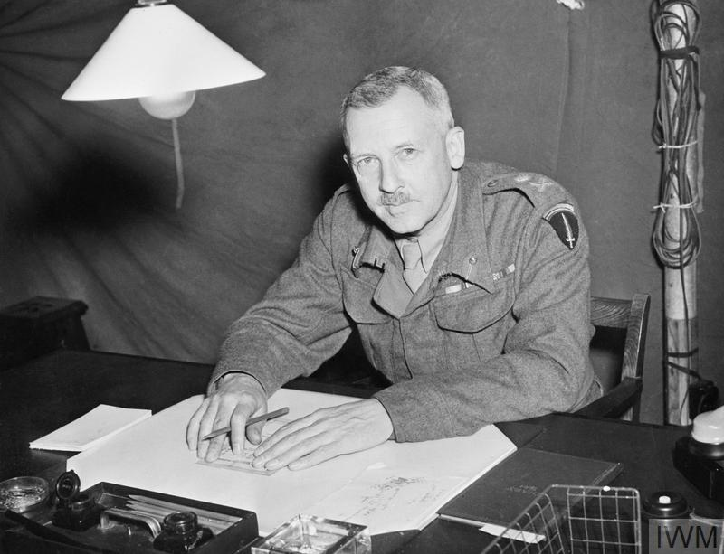 Lt General F E Morgan, Chief of Staff to the Supreme Allied Commander (COSSAC), holding a press conference at headquarters.