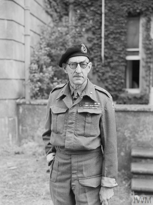 Major General Sir Percy Hobart, commander of 79th Armoured Division, who was made responsible in March 1943 for the development of specialised armoured vehicles, known as 'funnies', to spearhead the assault phase of the invasion.