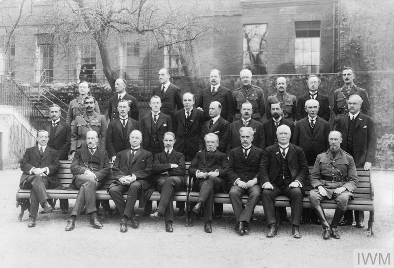 Group photograph of the Imperial War Cabinet members taken in the garden of No. 10 Downing Street, 1917.