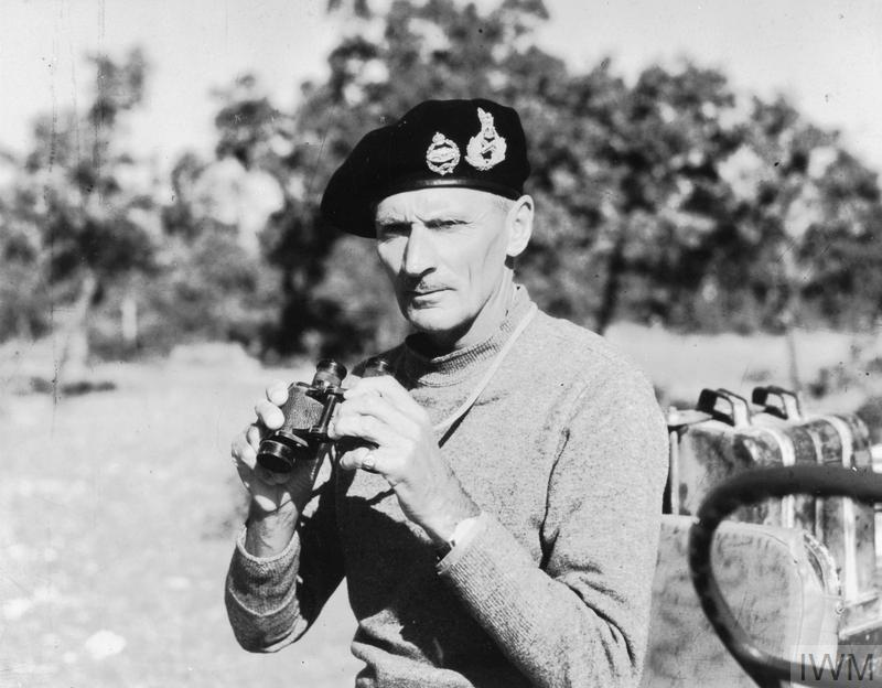Lieutenant General (later Field Marshal) Bernard Montgomery in field dress, at Eighth Army Headquarters in Italy. In 1944-45 he was Commander-in-Chief of 21st Army Group in North-West Europe.