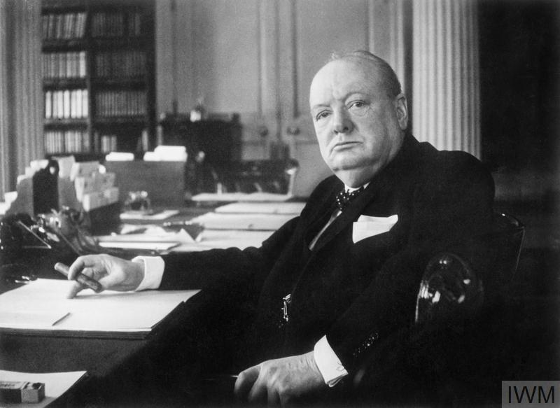 Cecil Beaton portrait of Winston Churchill at his seat in the Cabinet Room at No 10 Downing Street, London.