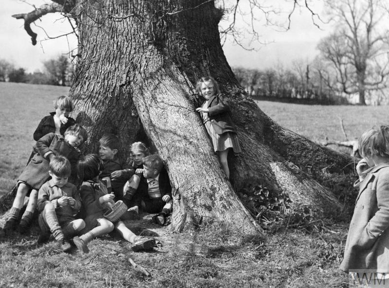 A group of children, including Alex McNiel and Georgie Earles, evacuated from Gravesend in Kent and Blackfriars in London, play in a hollow oak tree. They are on a nature walk from their billet at Dartington Hall, Totnes, Devon. According to the original caption, Alex and Georgie are pretending that they are Mickey and Minnie Mouse.