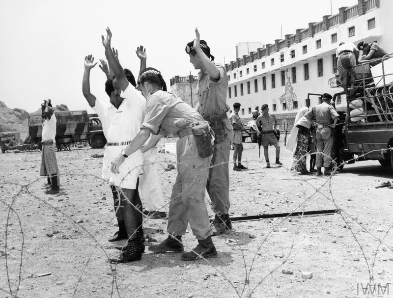 Terrorism in Aden: Members of the Argyll and Sutherland Highlanders searching suspects in Aden in 1967. In June 1967 the Crater district of Aden fell into the hands of dissidents. The area was recaptured by Lieutenant Colonel Colin Mitchell's 1st Argyll and Sutherland Highlanders on 3-4 July.
