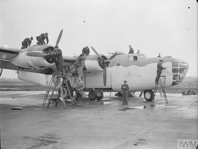 Daily inspection for a Liberator III of No 224 Squadron at Beaulieu in Hampshire, December 1942.