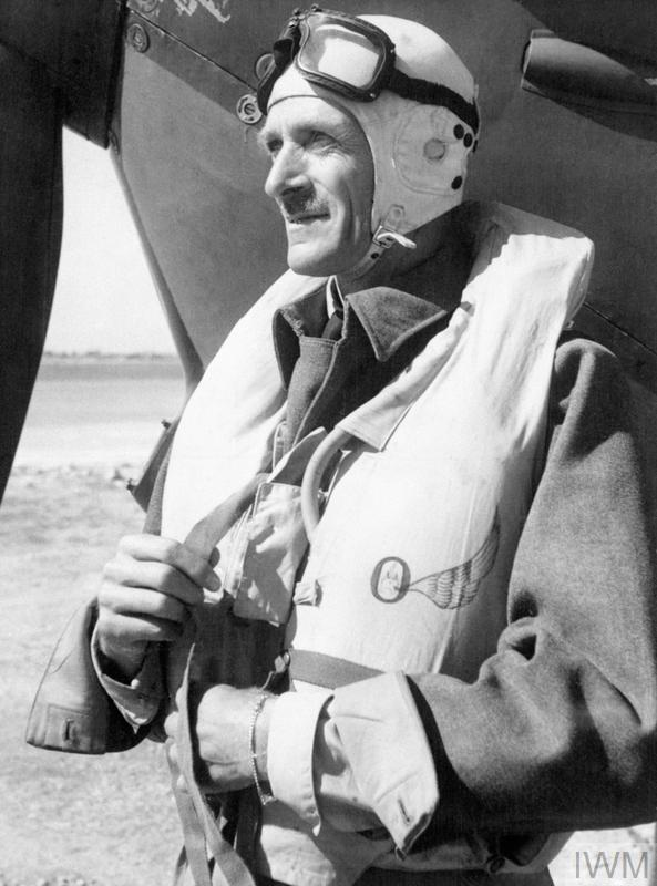 Air Vice Marshal Sir Keith Park, a New Zealander who was a principal Royal Air Force commander in the Battle of Britain and who later commanded the RAF in the Mediterranean, Italy and the Far East. Shown here preparing to fly his Spitfire in Malta.