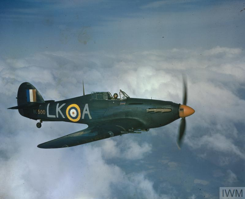 "Hurricane Mark IIC, BE500 'LK-A' ""United Provinces Cawnpore"", being flown by Squadron Leader Dennis Smallwood, the Commanding Officer of No.87 Squadron RAF based at Charmy Down, Somerset. BE500 subsequently served with No. 533 Squadron RAF and finally in the Far East."