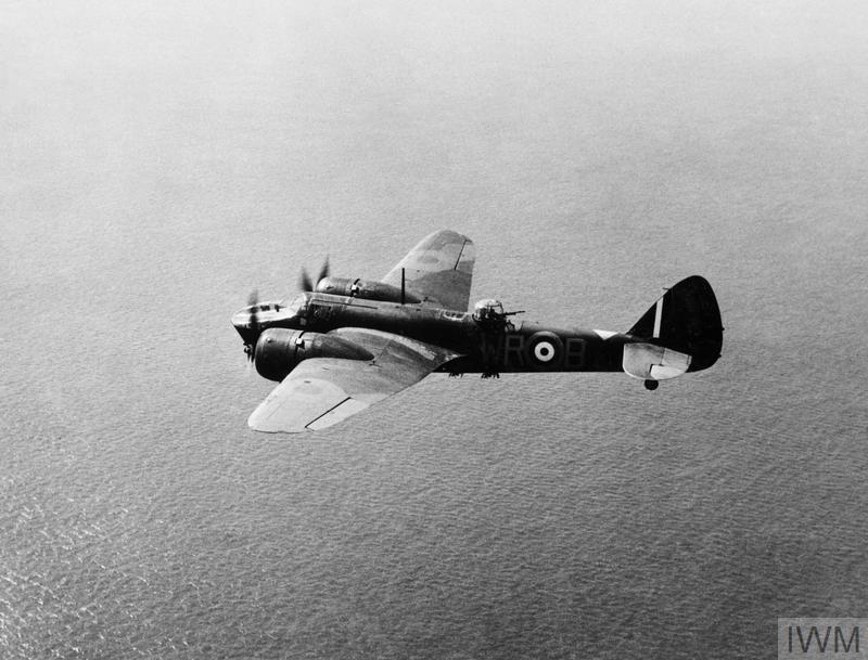 Blenheim Mark IV, 'WR-B', of No. 248 Squadron RAF based at North Coates, Lincolnshire, in flight over the North Sea. The aircraft is fitted with a Light Series Carrier under the fuselage. Note also the gas warning panel, which has been applied to the top of the fuselage in front of the tail fin.