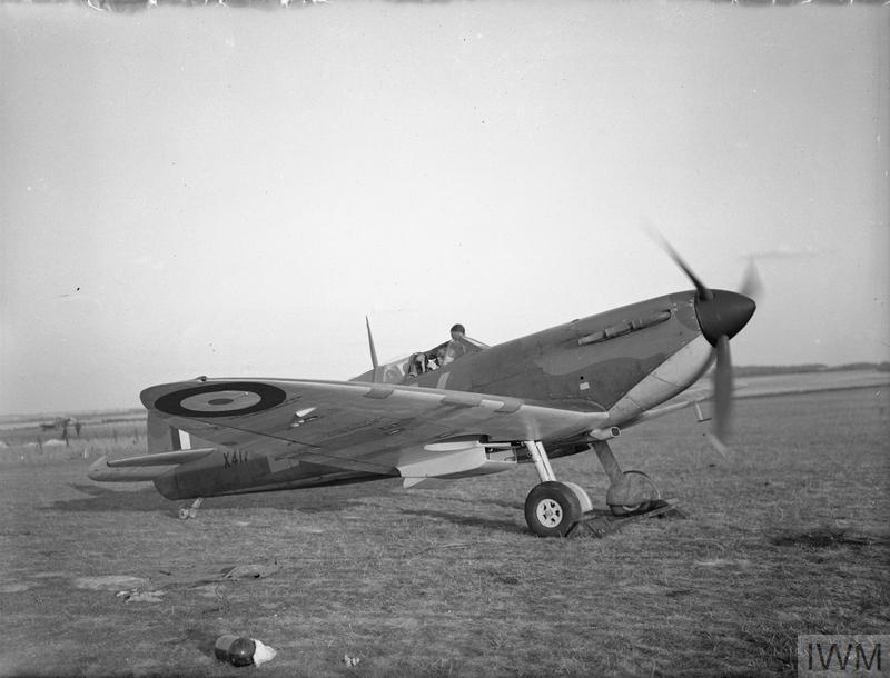Spitfire Mk Ia, X4179 QV-B, of No. 19 Squadron running up at Fowlmere, as the pilot undertakes a cockpit check prior to take off, September 1940.