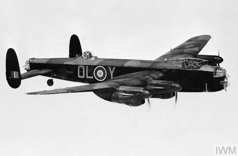 Lancaster B Mark I, R5852 'OL-Y', of No. 83 Squadron RAF based at Scampton, Lincolnshire, in flight.