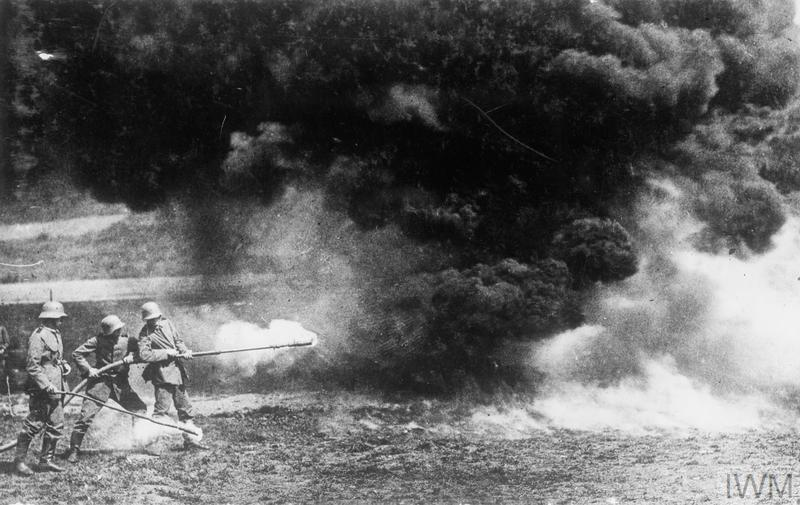 German flame throwers in action on the Western Front.