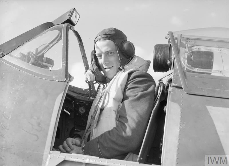 Pilot Officer Philip H 'Uncle Sam' or 'Zeke' Leckrone, an American pilot with No. 616 Squadron in the cockpit of his Spitfire at Fowlmere, September 1940.