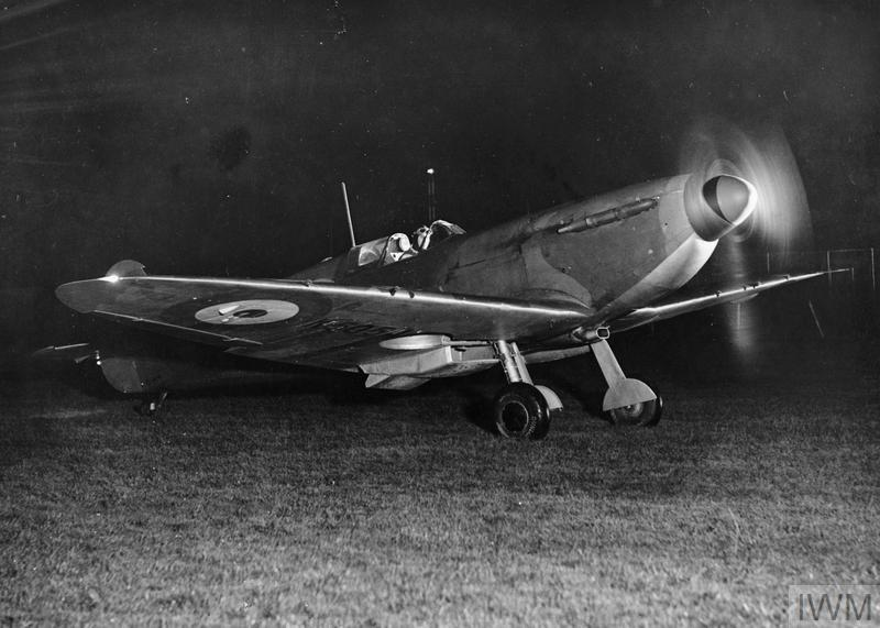 A Spitfire photographed in the dark
