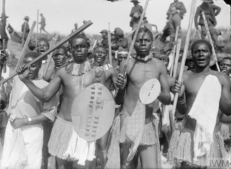 Soldiers of the South African Native Labour Corps who had performed a 'Zulu war dance'