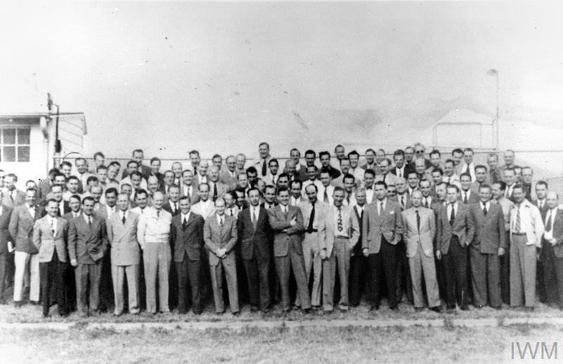 The German rocket scientist Wernher von Braun and his colleagues outside their research facility at Fort Bliss, Texas, USA after leaving Germany for America under the terms of Operation PAPERCLIP at the end of the Second World War.