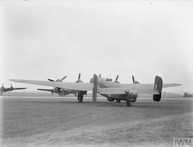 Halifax B Mark VI, NP831, awaiting delivery at the bomber production line, Radlett, Hertfordshire.