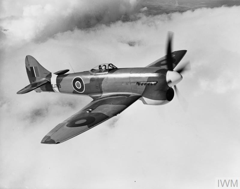 Tempest Mark V, EJ743, on a test flight following completion at Langley, Buckinghamshire. This aircraft served with No. 3 Squadron RAF.
