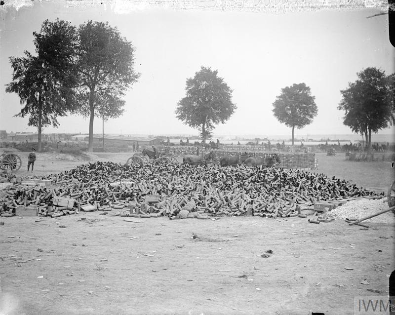 Photograph shows an empty Field gun Cartridge case dump. Fricourt Road, near Mealte, July 1916.