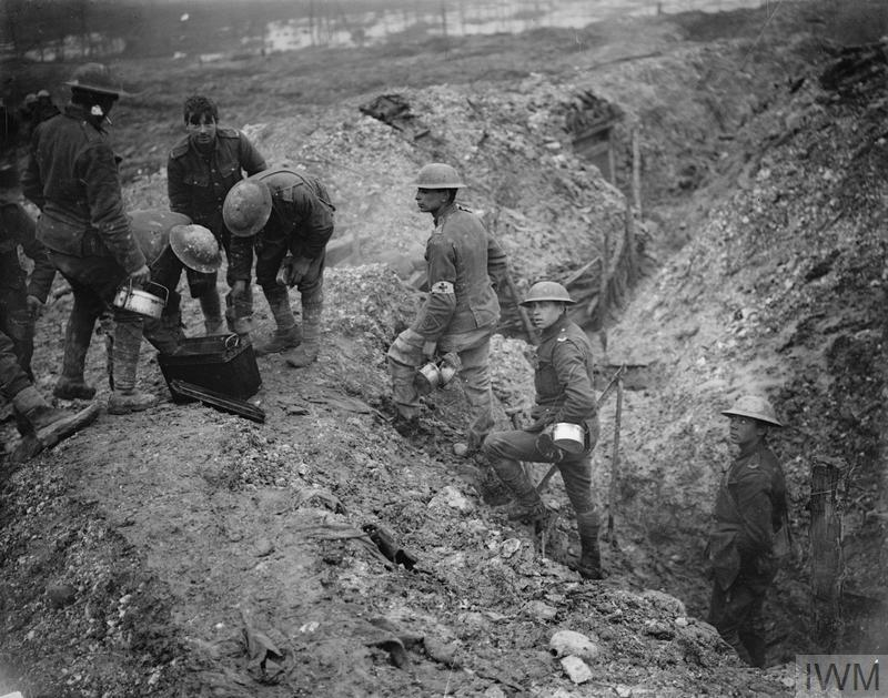Stew is served at the edge of a reserve trench near St Pierre Divion on the Somme.