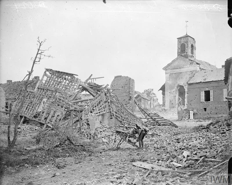 Battle of Amiens. The ruins of Chipilly the day after it was taken by the 58th Division aided by a regiment of the 33rd Division of the American Army, 10 August 1918.