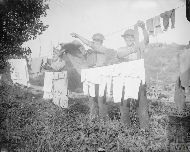 Soldiers washing clothes. Ypres-Comines Canal, 25 September 1917.