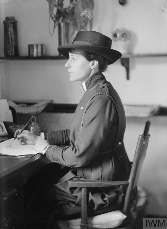 Miss Fletcher, Voluntary Aid Detachment (VAD), in her office at the Hotel Christol, Boulogne.