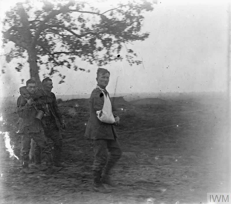 Battle of Amiens. The first German wounded from Hangard at 6.30am. on 8 August 1918. Stereoscopic.