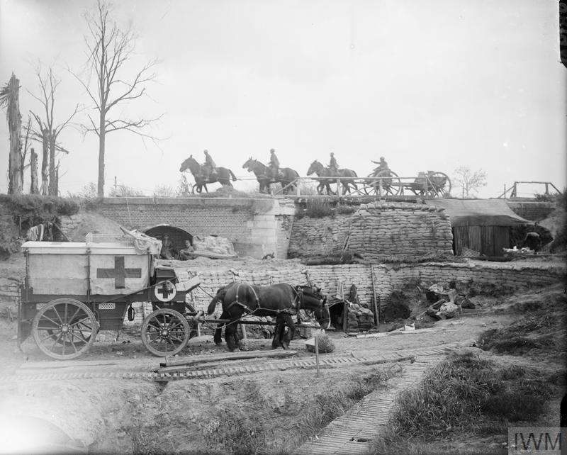 Battle of the Menin Road Ridge. Regimental aid post and horse ambulance of the Royal Army Medical Corps in front of Zillebeke, 24 September 1917.