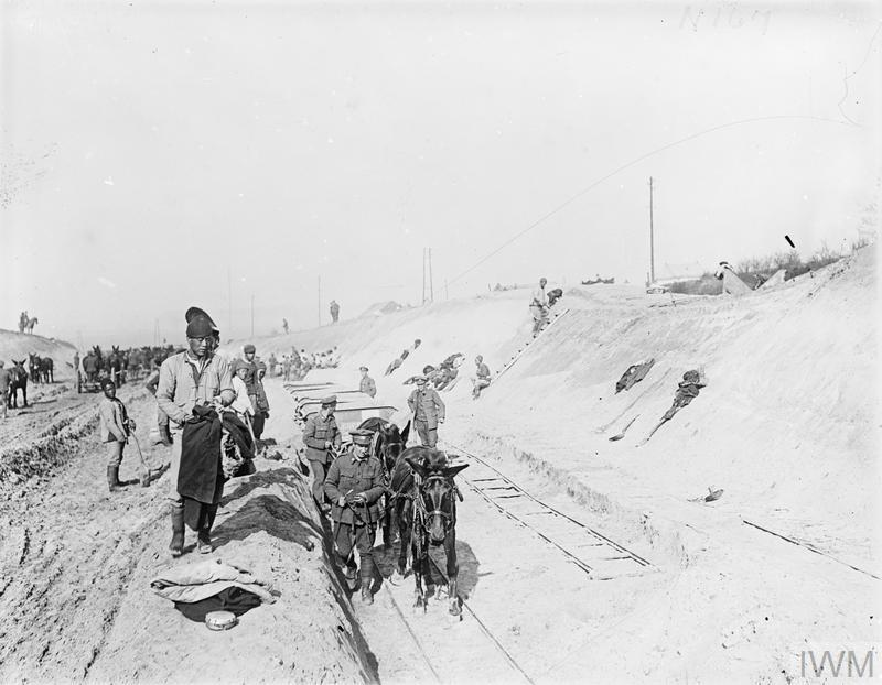 Canadian troops working with the Chinese Labour Corps to construct a broad-gauge railway