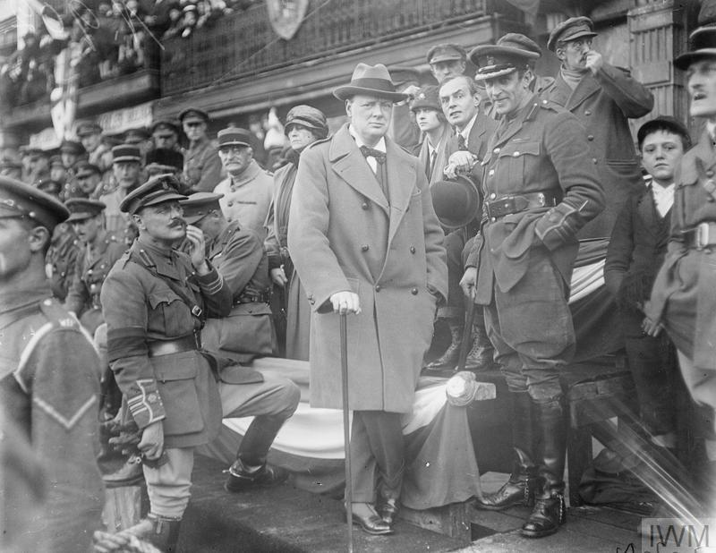 Official entry into Lille. The Minister of Munitions, Winston Churchill, watching the march past of the 47th Division in the Grande Place, Lille.